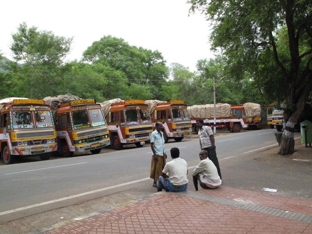 Truck-drivers here taking a break from their All India Permits.